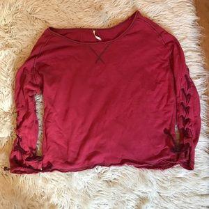 Free People 💕red pullover sweatshirt